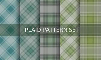 Plaid Green and Blue Patterns Set