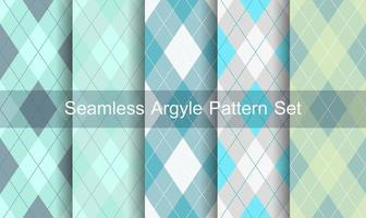 Seamless blue green argyle pattern set vector