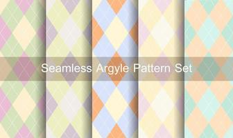 Seamless pastel colors argyle pattern set vector