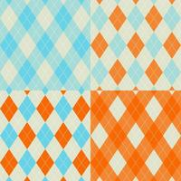 Orange and Blue Seamless argyle pattern set vector