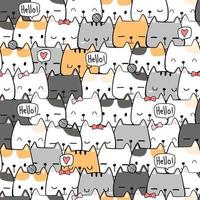 Cute Cat Cartoon Doodle Seamless Pattern vector