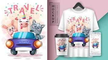 Cute Cartoon Animals Travel Theme Mock up