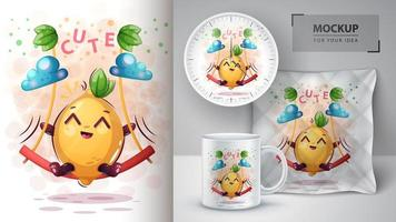 dibujos animados de limón en diseño de columpio