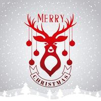 Feliz tarjeta de navidad con ciervos y adornos vector