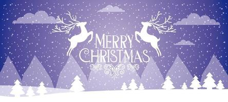 Merry Christmas Banner with Two White Deer Leaping