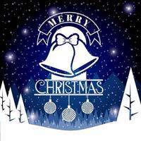 Merry Christmas Card on Dark Blue Black vector