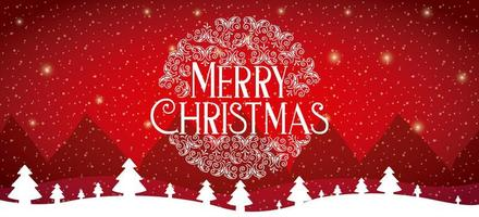 tarjeta roja feliz navidad con escena de nieve vector