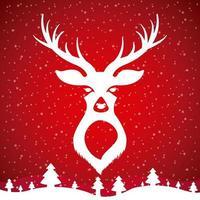 diseño de cabeza de ciervo blanco sobre rojo