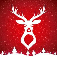 White Deer Head Design on Red vector