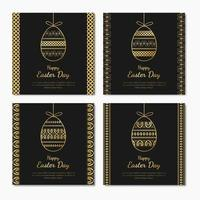 Set of Easter Day templates with beautiful golden eggs vector