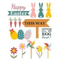 Happy Easter Card Item Set vector