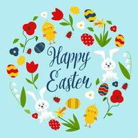 Happy Easter Card with Wreath Made of Items