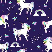 Purple seamless pattern with unicorns