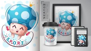 Blue Sport Cartoon Mushroom Design
