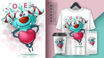 Love Monster with Heart Poster vector