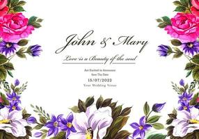 Wedding decorative flowers frame card