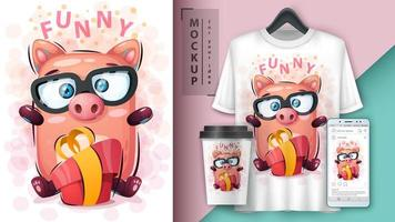 Cartoon Funny Pig with Gift Design vector