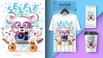 Cartoon Bears Taking Selfie Design