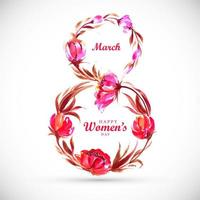Women's day card with Floral 8 Shape