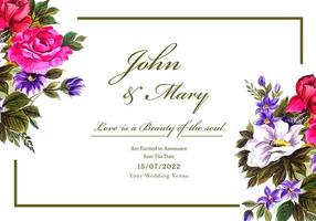 Romantic wedding invitation with colorful flowers