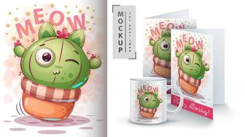 Cute Cartoon Kitty Cactus Design