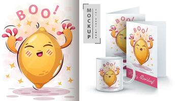 Cartoon Lemon Shouting Boo Design