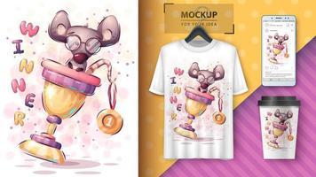 Winner Cartoon Mouse Poster