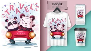 Cute Bears in Car Travel Design