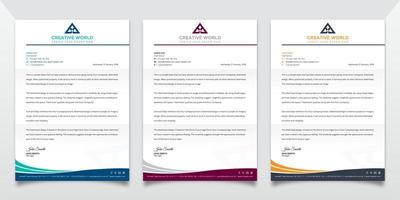 Letterhead Template Set with Wave Design