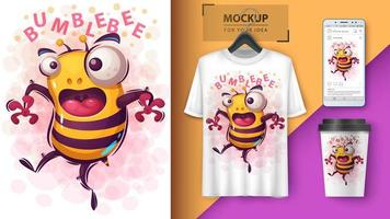 Cartoon Cute Crazy Bubblebee Design