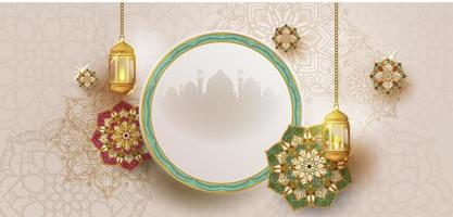 Ramadan kareem Poster with Frame and Hanging Lanterns vector