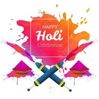 Happy holi card with colorful splashes and elements
