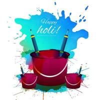 Colorful happy holi card with buckets