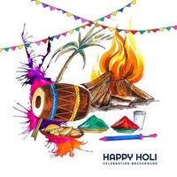 Watercolor Card with Colorful Holi Elements and Garland