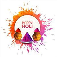 Holi Card with Circle Frame in Front of Paint Splash
