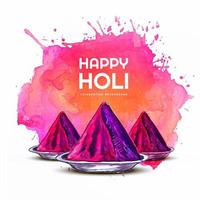 Happy Holi Card with Pink Gulal and Paint Splash