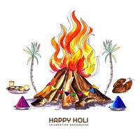 Holika Dahan celebration card with Holi elements