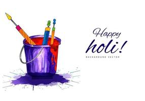 Happy Holi Banner with Bucket and Typography