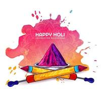 Holi Card with Patterend Splash and Pichkari