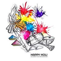 Holi sketch Celebration Card