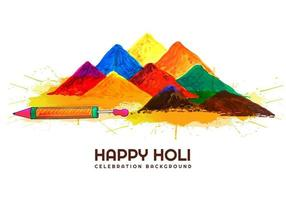 Holi card with piles of gulal and pichkari