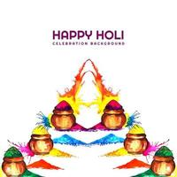 Holi card with colorful lined up gulal