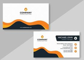 Striped Business Card with Orange and Black Shapes