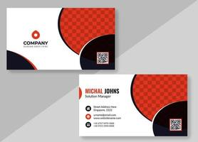 White Business Card with Red and Black Circle Shapes