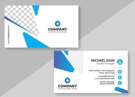 tarjeta de visita triangular redondeada blanca y azul