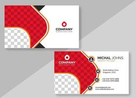 White Business Card with Red and Gray Checkered Pattern