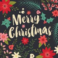 Typographic Merry Christmas card with floral elements