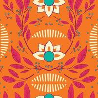 Seamless pattern with hand drawn floral elements