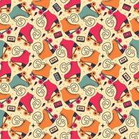 Seamless pattern with roller skates and cassette tape vector