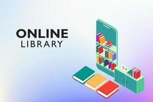 Online Digital Library Education vector